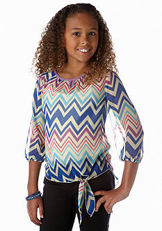 Belle du Jour Chevron Peasant Tie Side Top Girls 7-16