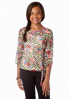 Belle du Jour Chevron Peasant Side Tie Top Girls 7-16