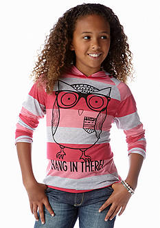 Belle du Jour Owl Stripe Hooded Tee Girls 7-16