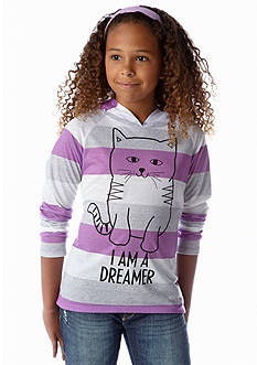 Belle du Jour Cat Stripe Hooded Tee Girls 7-16
