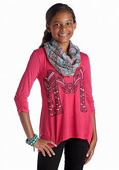 Belle du Jour Elephant Scarf Tee Girls 7-16