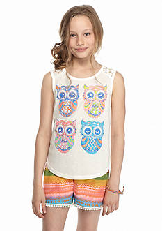 Belle du Jour 2-Piece Owl Tank Top And Soft Shorts Set Girls 7-16