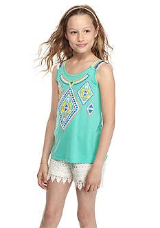 Belle du Jour 2-Piece Tribal Tank Top and Crochet Shorts Set Girls 7-16