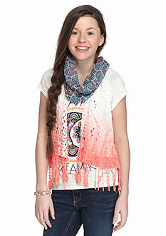 Belle du Jour 3-Piece 'Dream On Dreamer' Tee, Crochet Vest, and Floral Scarf Girls 7-16
