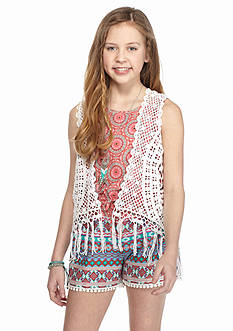 Belle du Jour 2-Piece Printed Romper and Crochet Cozy Girls 7-16