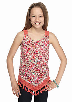 Belle du Jour Printed Crochet Fringe Tank Top Girls 7-16