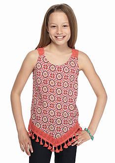 Belle du Jour Printed Crochet Fringe Tank Top Girls 7-16