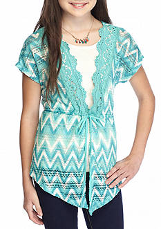 Belle du Jour Solid Tank Top with Chevron Crochet Cozy Girls 7-16