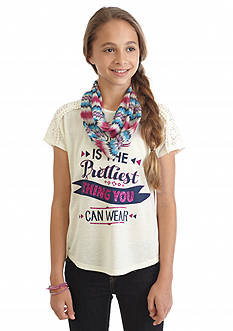 Belle du Jour 2-Fer 'Prettiest Thing You Can Wear' Split Back Top and Scarf Girls 7-16