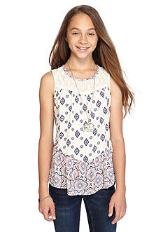 Belle du Jour Printed Crochet Trim Tank Girls 7-16