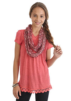 Belle du Jour 2Fer Crochet Trim Top and Scarf Girls 7-16