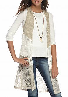 Belle du Jour Lace Sleeveless Cardigan Top Girls 7-16