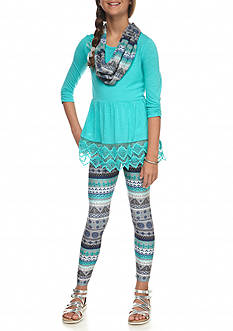 Self Esteem 2-Piece Lace Accent Top and Printed Legging Set Girls 7-16