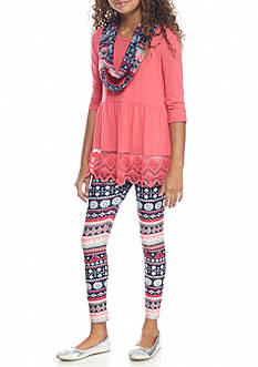 Belle du Jour Babydoll Tunic and Patterned Leggings Set with Scarf 2-Piece Set Girls 7-16