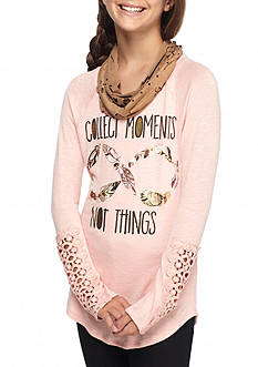 Self Esteem Collect Moments Crochet Top with Suede Scarf Girls 7-16