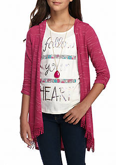 Self Esteem Fringe Cozy Cardigan and Tank Top 2-Piece Set with Necklace Girls 7-16