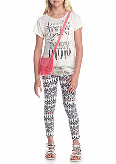 Belle du Jour 'Live For Today' Top, Printed Leggings, and Bag Set Girls 7-16