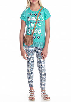 Belle du Jour 3-Piece 'Sparkle' Print Top, Legging, and Bag Set Girls 7-16