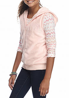 Belle du Jour Woobie Vest and Long Sleeve Top 2-Piece Set Girls 7-16