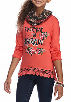 Self Esteem Everyday Im Sparklin' Top with Scarf Girls 7-16
