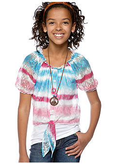 Belle du Jour Tie Front Necklace Shirt Girls 7-16