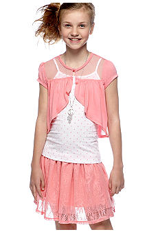 Self Esteem Shrug Tiered Lace Skirt Set Girls 7-16