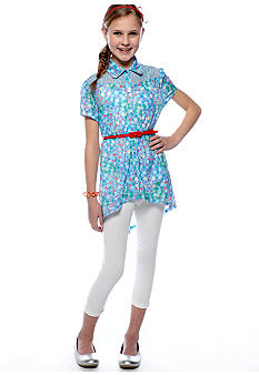 Belle du Jour Floral Tunic Legging Set Girls 7-16