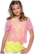 Belle du Jour Crochet Popover Top Girls 7-16
