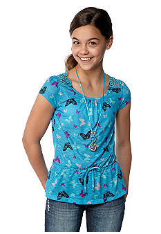 Belle du Jour Peplum Butterfly Necklace Top Girls 7-16
