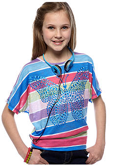 Belle du Jour Butterfly Tee with Headphones Girls 7-16