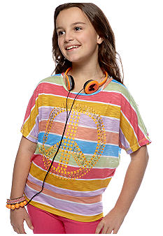 Belle du Jour Peace Tee with Headphones Girls 7-16