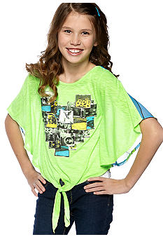 Belle du Jour Graphic Heart Tie Front Shirt Girls 7-16