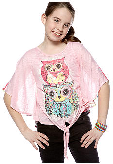 Belle du Jour Owl Tie Front Shirt Girls 7-16