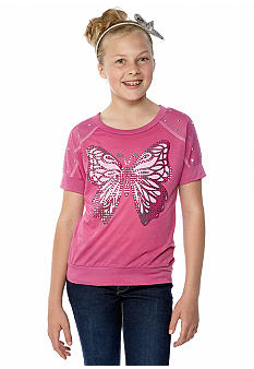 Belle du Jour Butterfly Stud Sweater Top Girls 7-16