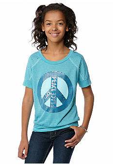 Belle du Jour Peace Sign Stud Sweater Top Girls 7-16