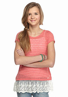 Red Camel Short Sleeve Hacci Lace Trim Top Girls 7-16