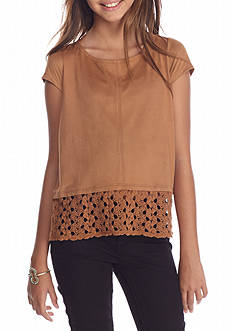 Red Camel Suede Lace Top Girls 7-16
