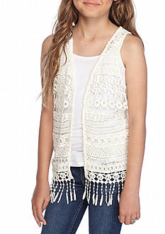Red Camel Crochet Vest Girls 7-16