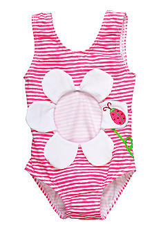 Sweet Potatoes Pink Posie Belly Swimsuit Girls 4-6X