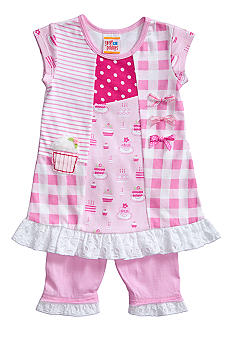 Sweet Potatoes Patchwork Tunic with Ruffle Leggings Girls 4-6X