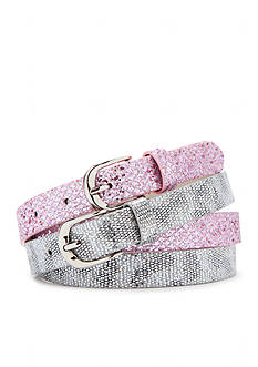 Capelli New York 2-Pack Glitter & Leopard Print Belts Girls
