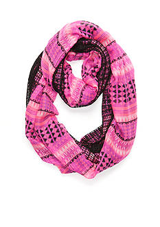 Capelli New York Mix Media Tribal Print Loop Scarf