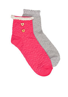 Capelli New York 2-Pack Textured Heart Anklet Socks Girls 4-16