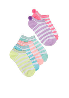 Capelli New York 6-Pack Stripe Pom Socks Girls 4-16