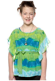 Speechless Tie Dye Butterfly Sleeve Necklace Shirt Girls Plus