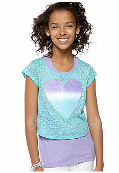 Speechless Burnout Heart Popover Top Girls 7-16