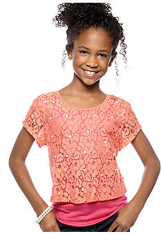 Speechless Lace Popover Bow Top Girls 7-16