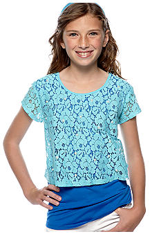 Speechless Lace Popover Bow Top Girls Plus