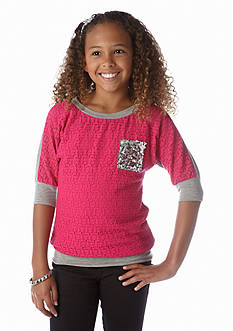 Speechless Lace Front Sequin Pocket Tee Girls 7-16