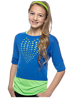 Speechless Neon Heart Lazer Cut Top Girls 7-16